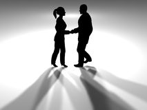 Handshake in Spotlight - horizontal. 3D Illustration Stock Photo