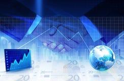 Handshake and statistics Stock Photos