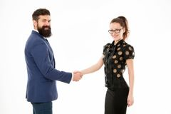 Handshake successful deal. Business concept. Nothing personal just business. Colleagues man with beard and pretty woman stock photos