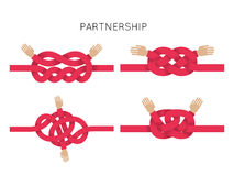Handshake symbol forming a love heart. Business partnership, together and helping concept. Rope Knots Collection. Hand Drawn Decorative elements. Vector Stock Photography