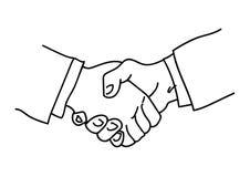 Handshake. Symbol of partnership.Sketch of  Hand drawn vector illustration. Cartoon  isolated on white background stock illustration