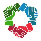 Handshake team hands logo on white vector illustration
