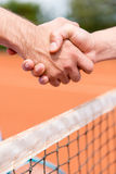 Handshake at a tennis match Stock Image