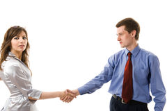 Handshake. The Union Of Young Business People Stock Photography
