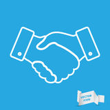 Handshake thin line design icon. Vector illustration Royalty Free Stock Photos
