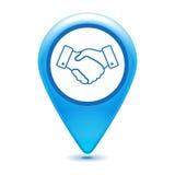 Handshake thin line design pointer icon on a white background - Stock Photo