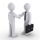 Handshake to close the deal. Handshake between two 3d men Royalty Free Stock Photography