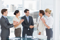 Handshake to seal a deal after a job recruitment meeting Royalty Free Stock Image