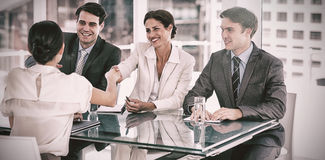 Handshake to seal a deal after a job recruitment meeting Stock Photo