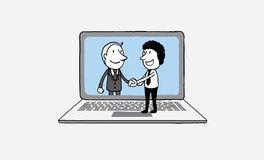 Handshake of two business people on laptop background. on line communication concept. isolated illustration outline hand dr. Awn doodle vector illustration