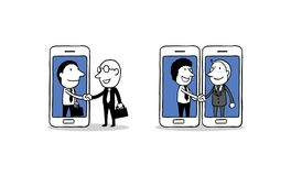 Handshake of two business people on smartphone background. star up concept. isolated illustration outline hand drawn doodle vector illustration