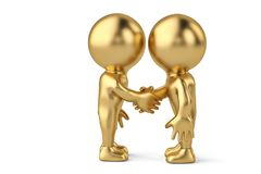 Handshake between two gold businessmen character.3D illustration.  Royalty Free Stock Photography