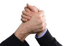 Handshake. Two hands wrestle and shake Royalty Free Stock Image