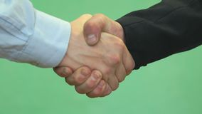 Handshake of two male students. Close-up of handshake of two unknown fellow students against green wall background stock video