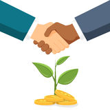 Handshake two men on the background money tree. The conclusion of a contract or partnership. Vector, illustration EPS10. Royalty Free Stock Photos