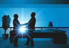 Handshake between two bosses for an agreement royalty free illustration