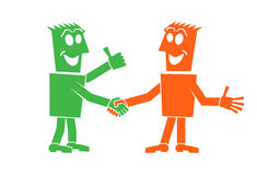 Handshake of two people. Character person people vector Stock Images