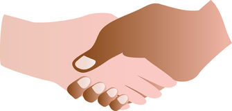 Handshake. Two people shaking hands,one black/brown, one white Royalty Free Stock Photos