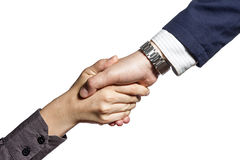 Handshake of two persons. Photo which shows a handshake of two persons, isolated on white Royalty Free Stock Photo