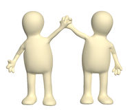 Handshake of two puppets Royalty Free Stock Images