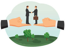 Handshake of two small businessmen Royalty Free Stock Images