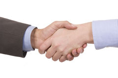 Handshake of two successful businesspeople. (isolated on white Royalty Free Stock Photos