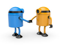 Handshake. Union of two robots Royalty Free Stock Images