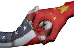 Handshake between United States and China stock photo