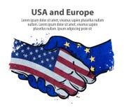 Handshake. United States and Europe. vector illustration Stock Photos