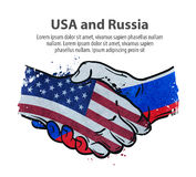 Handshake. United States and Russia. vector illustration Stock Images
