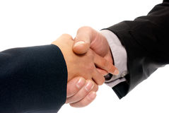Handshake unrecognizable business man and woman. Isolated on white background Stock Photography