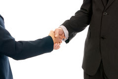 Handshake unrecognizable business man woman. Handshake unrecognizable business men and women isolated on white background Royalty Free Stock Photos