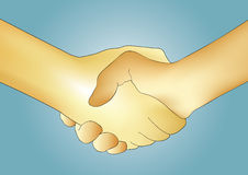 Handshake vector. Illustration of two hands shaking. Handshake Stock Images