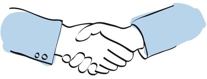 Handshake vector. A sketch of two business men shaking hands + Vector EPS file Stock Image