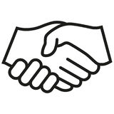 Handshake vector icon. Black illustration isolated for graphic and web design. Stock Image