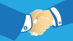 Handshake. Vector illustration of handshake on a blue background Royalty Free Stock Photos