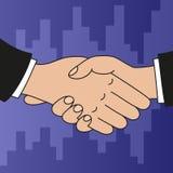 Handshake. Vector illustration of handshake on purple background Stock Photography
