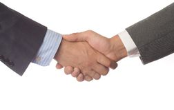 Handshake on white background Stock Photo