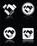 Handshake white icons set on black background. Vector icons set of shaking hands, business agreement, meeting deal concept Royalty Free Stock Photography