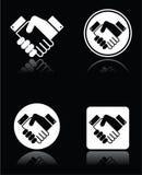 Handshake white icons set on black background Royalty Free Stock Photography