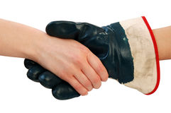 Handshake with working glove Stock Images