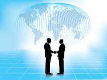 Handshake with world map in background Royalty Free Stock Images
