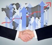 Handshake and world map Stock Photo