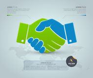 Handshake with world map on grey background. Vector Infographic template. vector illustration