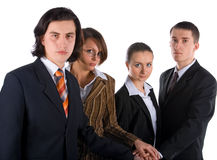 Handshake of young business team stock photo