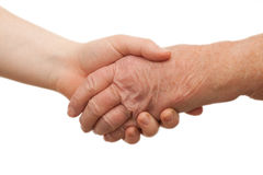 Handshake - between young and old  females Stock Images