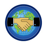 Handshake01. Symbol sign handshake of friendship, cooperation against the backdrop of the globe Stock Photo