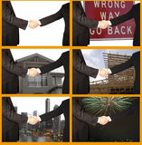 Handshakes. Collage of men shaking their hands in front of a blank, and then a variety of backgrounds stock photography