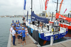 Handshakes And Hugs For The Volvo Ocean Race Sailors Royalty Free Stock Photo