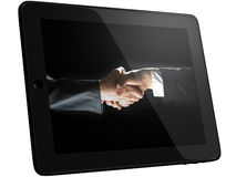 Handshaking on Computer Screen Royalty Free Stock Photography